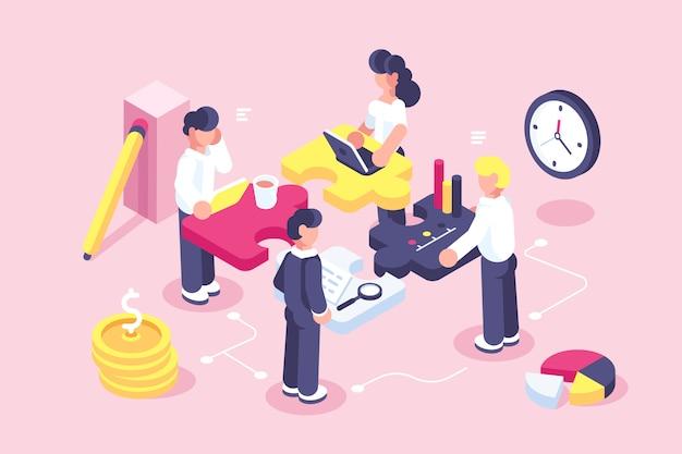 Webページのビジネスコンセプト。チームの比phor。パズル要素を接続する人々。ベクトル図のフラットなデザインスタイル。チームワーク、協力、パートナーシップの象徴。スタートアップの従業員。目標思考