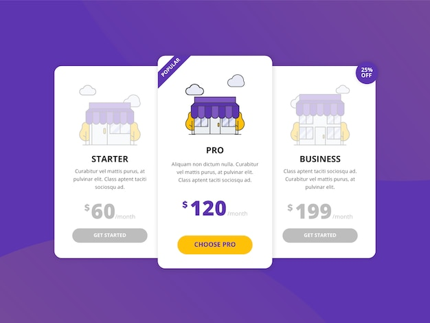 Web price list pricing table template collection
