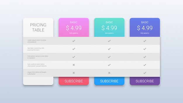 Web pricing table for business