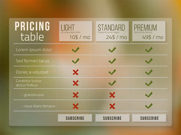 Web pricing table design for business on blur background