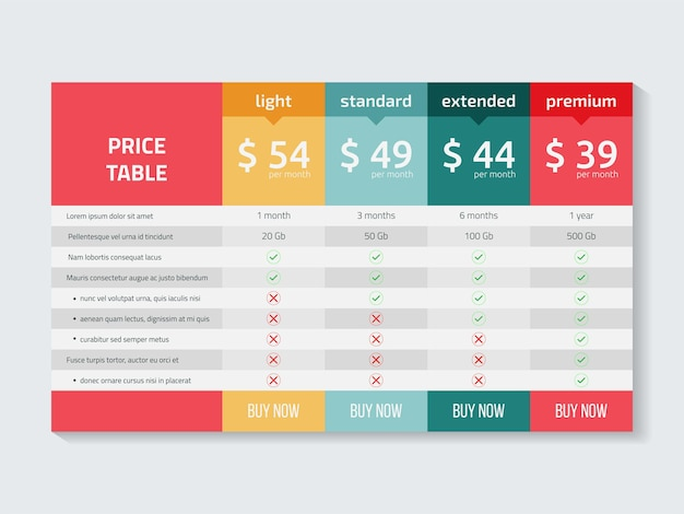 Web pricing table design for business vector illustration