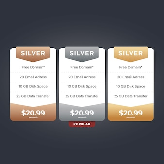 Web pricing table website pricelist design