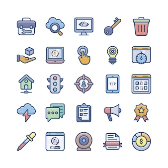 Web programming flat icons pack