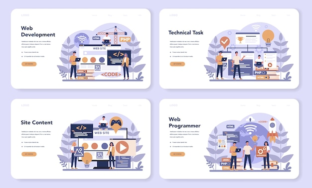 Web programming web landing page set. coding, testing and writing program for website, using internet and different software. website development . isolated vector illustration