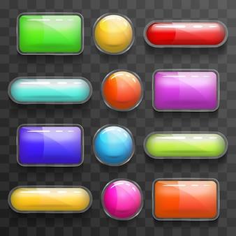 웹 사각형 및 원형 버튼 세트