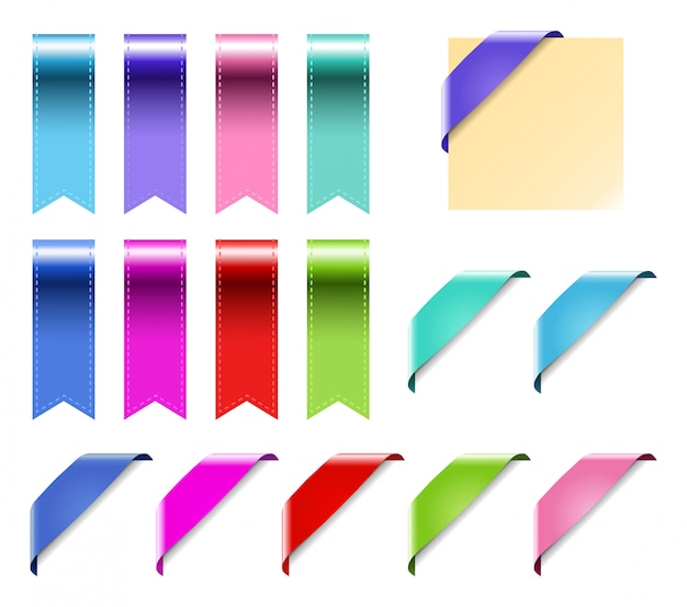 Web ribbons set with gradient.
