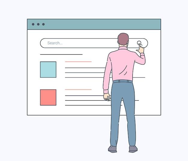 Web検索技術、検索システム、インターネット技術。インターネットで情報を見つけるための検索ボタンを押す男性。フラットベクトルイラスト