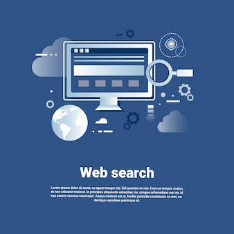 Web search template internet banner with copy space