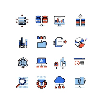 Web security cloud computing technology big data analysis line icons