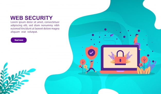 Web security illustration concept with character. landing page template