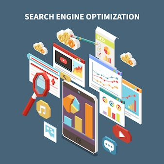 Web seo isometric composition with search engine optimization headline and isolated elements  illustration
