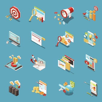 Web seo isometric icon set with work elements and abstract isolated tools graphs cups of coffee money and flags  illustration