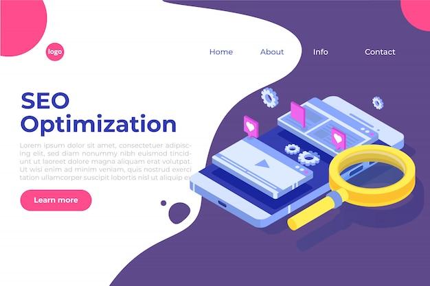 Концепция иллюстрации оптимизирования seo сети равновеликая. шаблон целевой страницы. наклейка для веб-баннера, веб-страницы, баннера, презентации, социальных сетей, документов, открыток, плакатов.