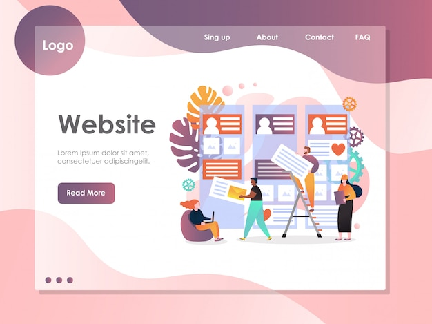 Web services vector website landing page