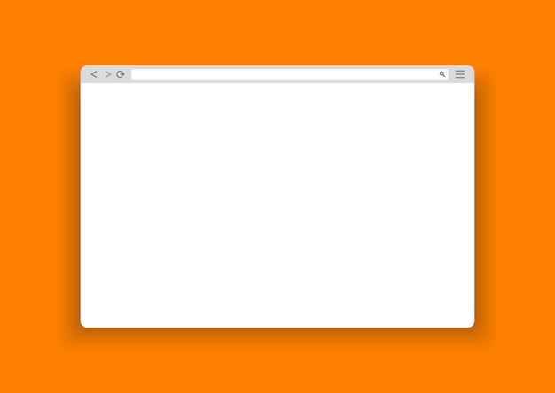 오렌지 배경에 웹 간단한 브라우저 창 ..