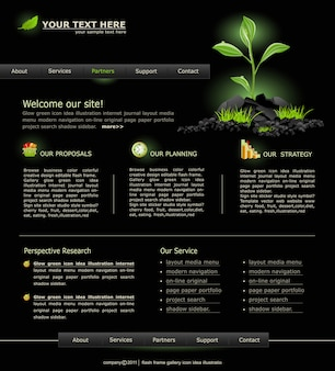 Web site for business. black with green sprout