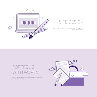 Web site design and portfolio with works template banner with copy space