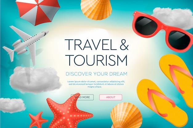 旅行、休暇、冒険をテーマにしたwebサイトのデザインテンプレートです。ウェブサイトとモバイル開発のためのランディングページの概念。