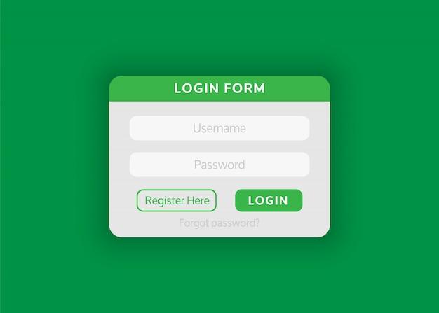 Web site login form.