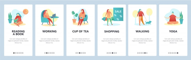 Web site onboarding screens. hobby and leisure activity. reading, walking, yoga, shopping. vector banner template