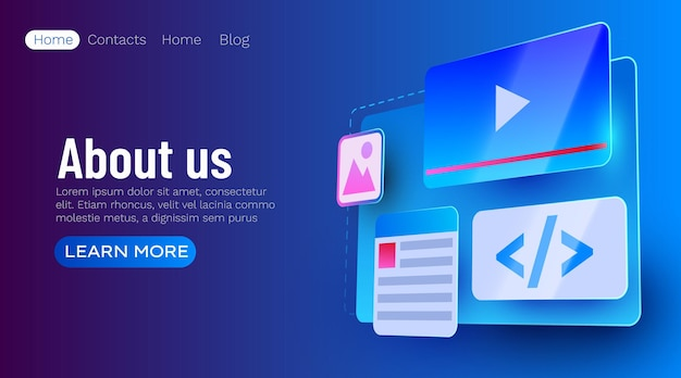 Web site ui element banner web development concept