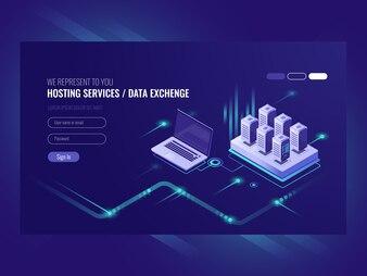 Web sites hosting services, server room rack, data center, data searching