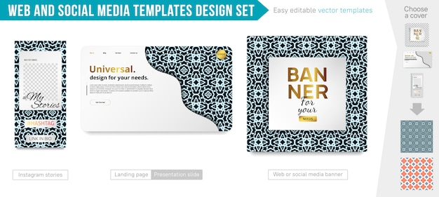 Web and social media templates design set