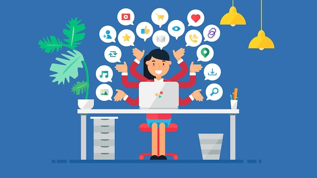 Концепция веб-социальной сети для блогов и социальных сетей, покупок в интернете и электронной почты, файлов видео, изображений и фотографий. элементы для подсчета просмотров, лайков и репостов. вектор