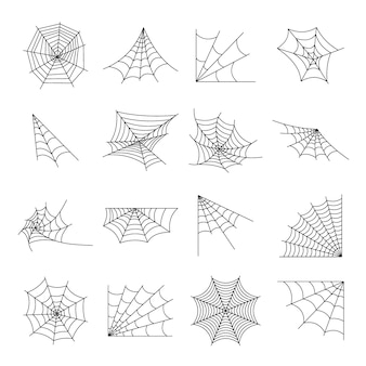 Web spider cobweb icons set