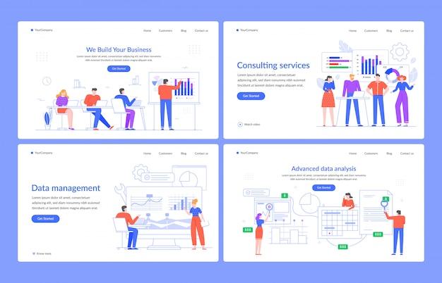 Концепция веб-статистики. программное обеспечение для анализа данных, управленческие и консалтинговые услуги, маркетинг, шаблон посадочной страницы иллюстрации современных персонажей. бизнес консультации, цифровые технологии