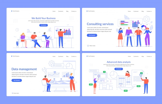 Web statistics concept. software data analysis, management and consulting services, marketing, modern characters  illustration landing page template. business advisory, digital technology