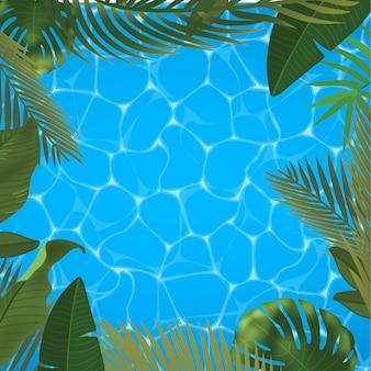 Web夏のバナー。緑のヤシは、プール表面の背景にテンプレートを残します。夏の抽象的なイラスト。旅行やチケット販売のためのリアルな写真のトロピカルパラダイス。