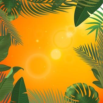 Web夏のバナー。緑のヤシは、日当たりの良い黄色の背景にテンプレートを残します。夏の抽象的なイラスト。旅行やチケット販売のためのリアルな写真のトロピカルパラダイス。