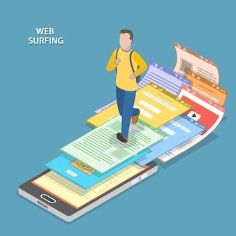 Web surfing isometric flat