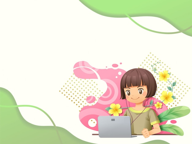 Web template background with people working on laptop - vector