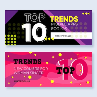 Web template banner of top 10 rating