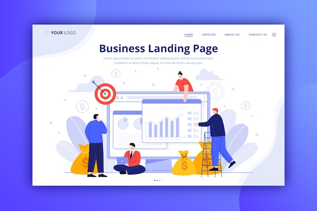 Web template for business landing page