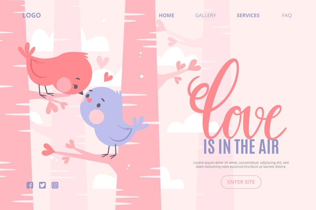 Web template concept with valentines day