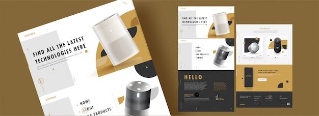 現実的な電子製品と詳細を備えたwebテンプレートデザイン