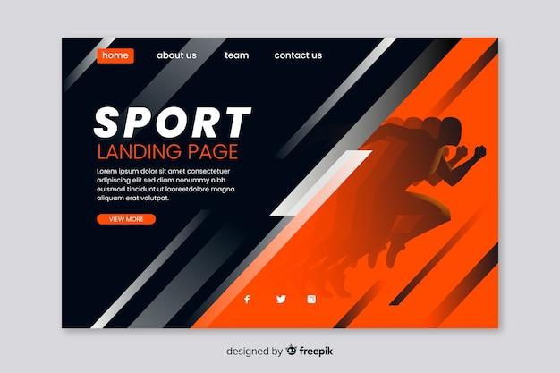 スポーツのランディングページのwebテンプレート Premiumベクター