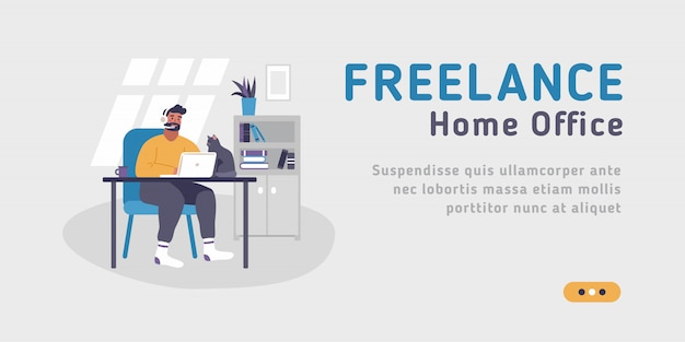Web template for freelance, work at home, online jobs and home office.  illustration on the grey background of young man sitting at desk with laptop.