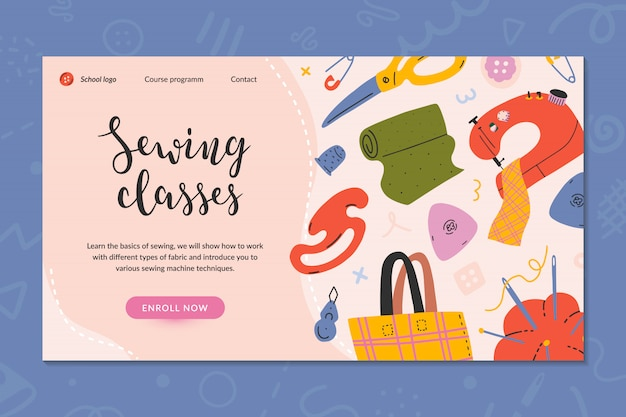 Web template or landing page for sewing classes