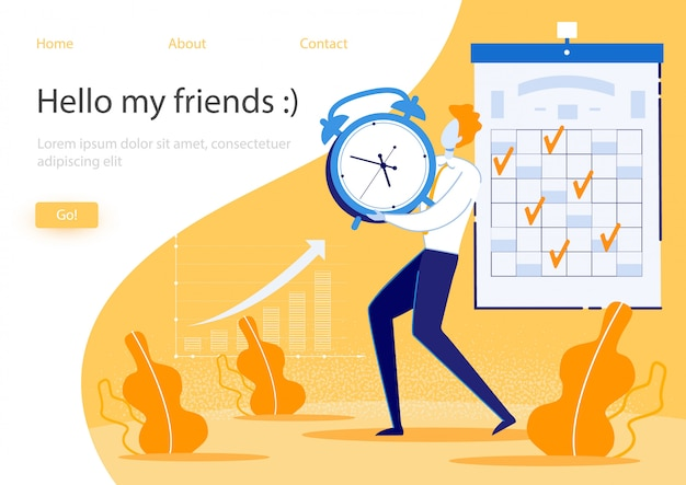 Web template or landing page with illustration. completed tasks are marked on calendar, growth indicators on graph. guy carries heavy watch