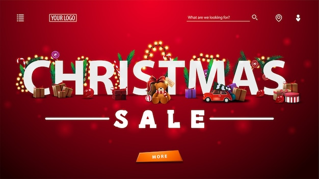 プレゼント、木の枝、キャンディーと花輪、大規模なオファーとボタンで飾られたクリスマスセールのwebテンプレートまたはランディングページ