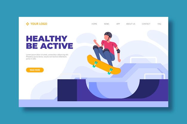 Web template for sport landing page