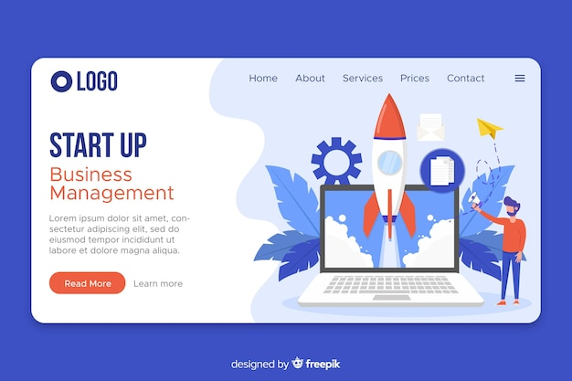 Web template start up landing page
