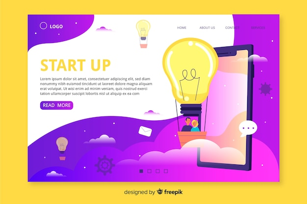 Web template for startup landing page
