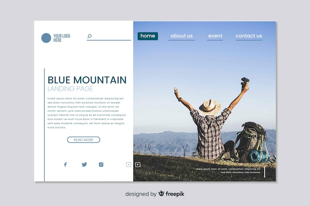 Web template for travel landing page with photo