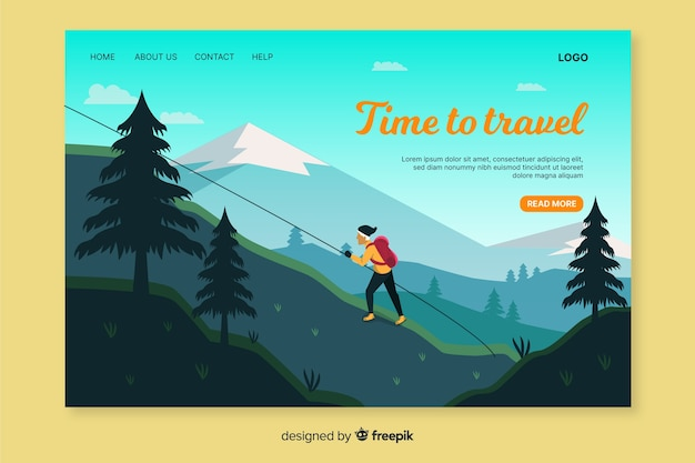 Web template for traveling landing page