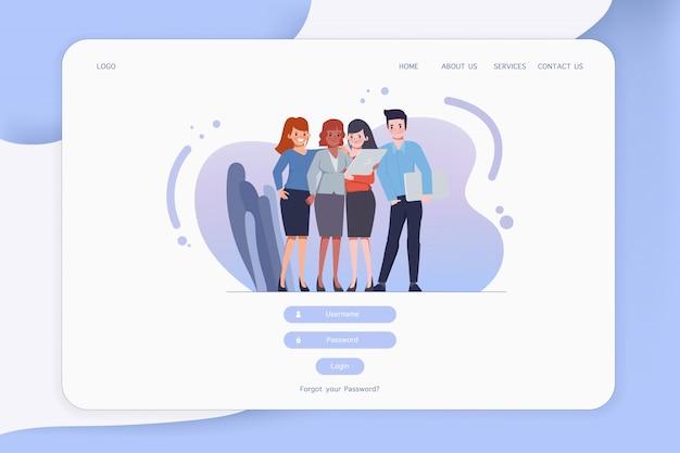 Webサイトにログオンするためのwebテンプレートのuiデザイン。会社のチームワークキャラクターの人々。